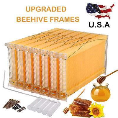 7pcs Auto Flow Honeycomb Beehive Wax Frames Bee Hive Kits Set For Beehive Box Us