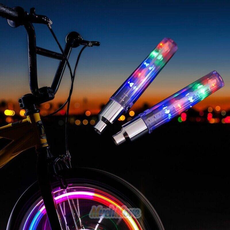 5 LED Flashing Light Bicycle Bike Tyre Tire Wheel Valve-Spoke Cap Bright Lamp US