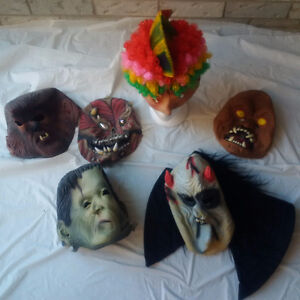 6 Costum  MASKS for $30.00   +  Mannequin HEAD $30