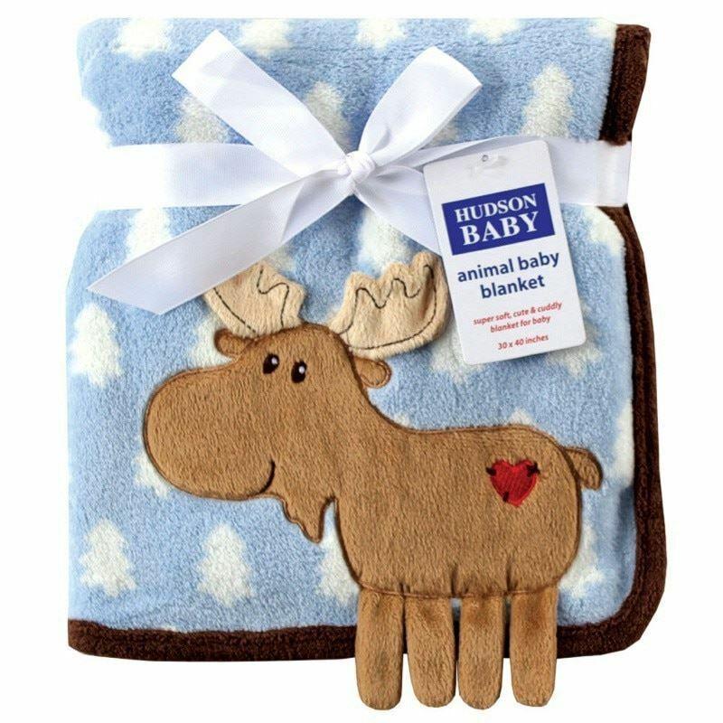 Hudson Baby Boy Coral Fleece 3-D Animal Blanket, Blue