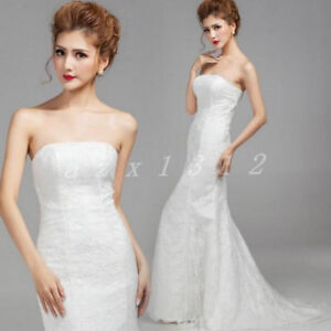 Stunning White Lace Mermaid Wedding Dress Gown, XS 4/6 - New