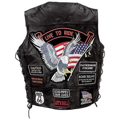 Leather Vest Vests Motorcycle Bike Black, Diamond Plate, Patchwork (Diamond Plate Black Leather)