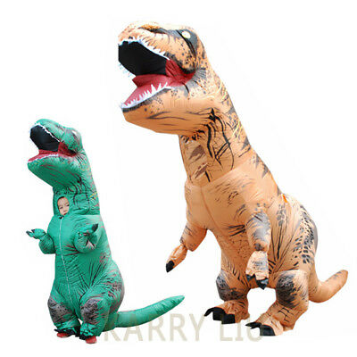 Kids Adult Inflatable Dinosaur Costume T Rex Fancy Dress Halloween Blow Up Suit