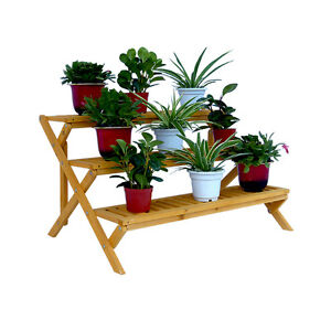 3-TIER WOODEN STEP PLANT STAND, CEDAR, PATIO, TERRACE, GARDEN