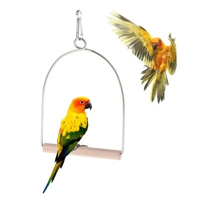 Wooden Natural Birds Perch Parrots Hanging Swing Cage Toys Stand Holder Pendant