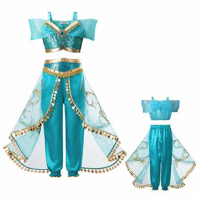 Aladdin Jasmine Princess Cosplay Kids Girls Fancy Dress Up Party Costume Sets