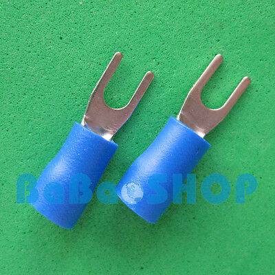 20pcs New Fork Terminal Crimp Spade Wire Connector 4 27amp 1614awg Blue