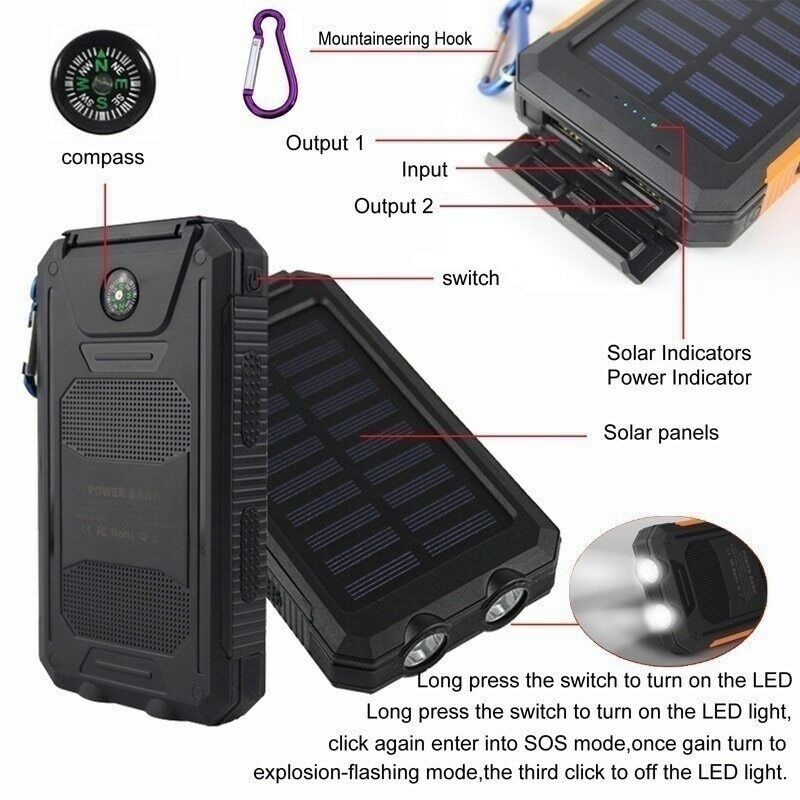 Solar Power Bank Charger Large Capacity Solar Panel Portable