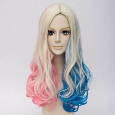 Harley Quinn Blonde Hair (Suicide Squad Harley Quinn Curly Blonde Pink Blue Mixed Hair Cosplay)