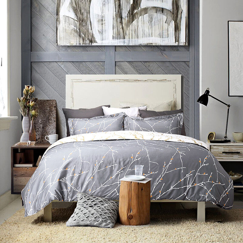 Bedsure Duvet Cover Set Grey/Ivory Printed Soft for Comforte