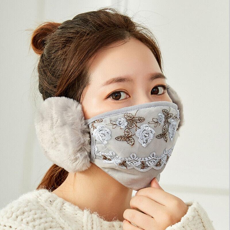 2 In 1 Women Warm Lace Face Mask Earmuffs Ear Cycling Windpr
