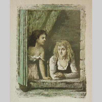 Arvid Mather: Zwei Mädchen am Fenster. Sehr schöne Farb-Lithographie