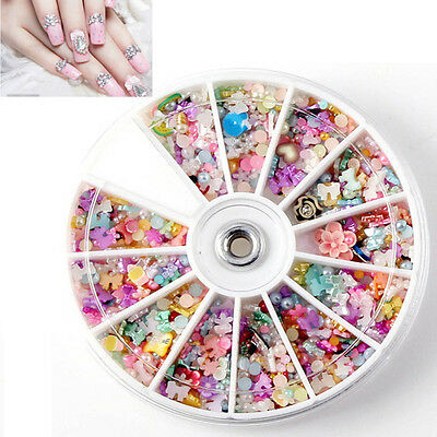 1200pcs Wheel Mixed Nail Rhinestones Art Tips 3D Slice Decoration Manicure DIY