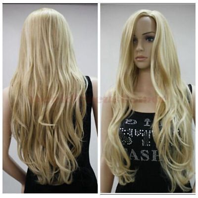 US STOCK Women Sexy Blonde Long Wavy Curly Heat Resistant Hair Wigs Synthetic - Long Blonde Wig