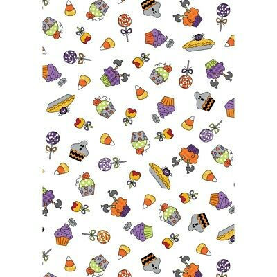 BROOMHILDA's BAKERY Candy on White Quilt Fabric Maywood by the 1/2 yd Halloween - Candy On Halloween