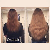 Hair extensions and keratin treatment.