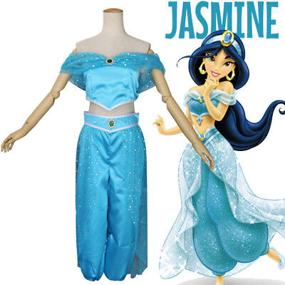 Halloween Princess Jasmine Costume (Halloween Cosplay Fancy Dress Princess Jasmine Costume for Adult Women or Girl)