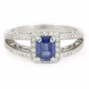 Platinum Sapphire and Diamond Ring, 0.95/0.32ct. (estate) #1267