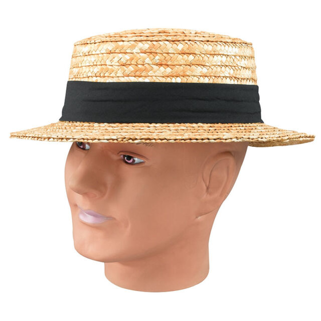 STRAW BOATER HAT FANCY DRESS ADULT COSTUME ACCESSORY