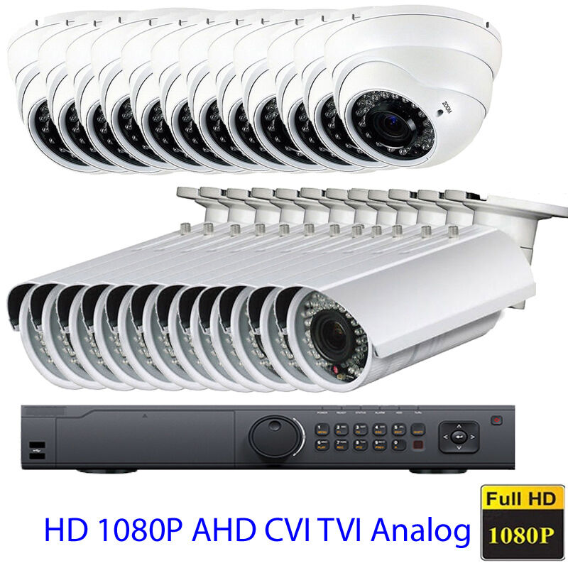 24CH 1080P HDTVI DVR AHD 4-in-1 Analog 960H 2.6MP CFG^ Security Camera System