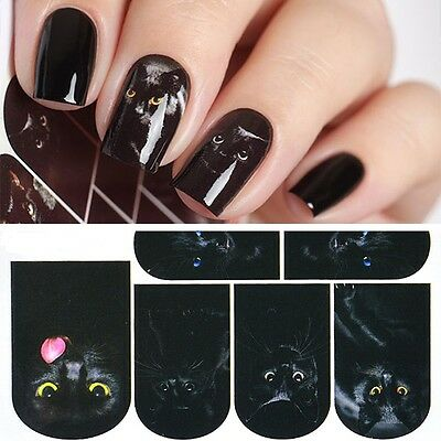 Nail Art Water Decals Stickers Transfers Mysterious Black Cat Halloween - Cat Halloween Nails