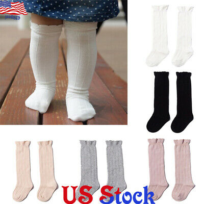 US Toddler Baby Girls Kids Cotton Knee High Ribbed Socks Spanish Style High Sock