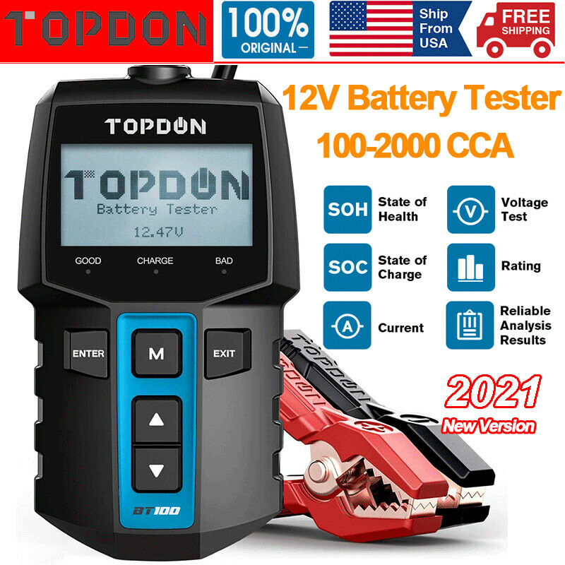 12V Automotive Car Battery Tester Charging Cranking Test Analyzer 100-2000CCA US