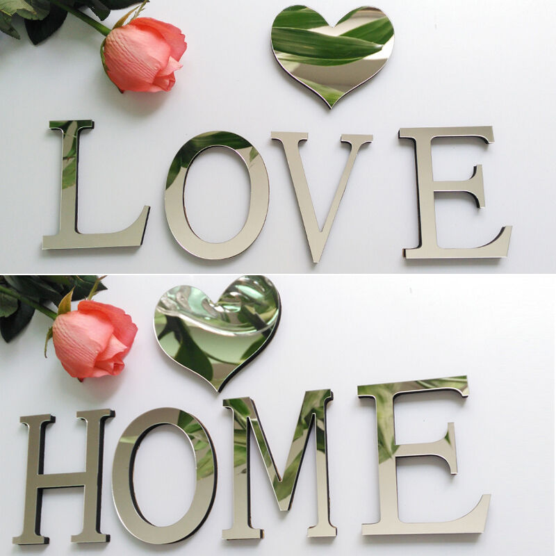 3d acrylic mirror diy wall stickers english letters home for Decoration 11 letters