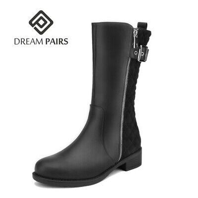 DREAM PAIRS Womens Mid Calf Boots Flats Low Heel Zipper Ridi