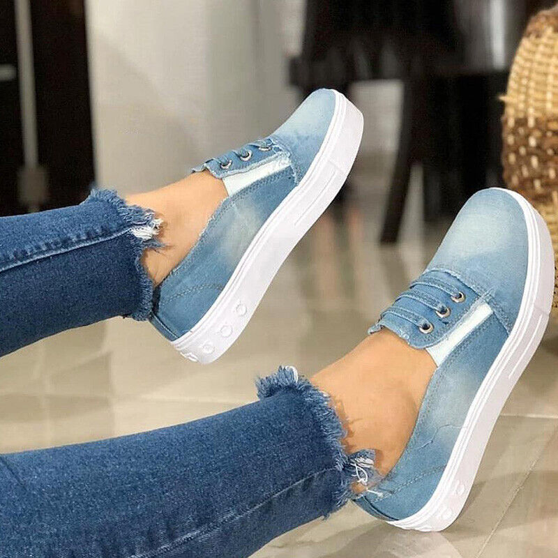 Womens Slip On Denim Pumps Trainers Loafers Ladies Casual Flat Sport Shoes Sizes