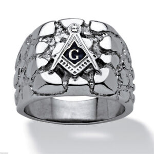 MASONIC MASON SILVER NUGGET STAINLESS STEEL RING SIZE 10