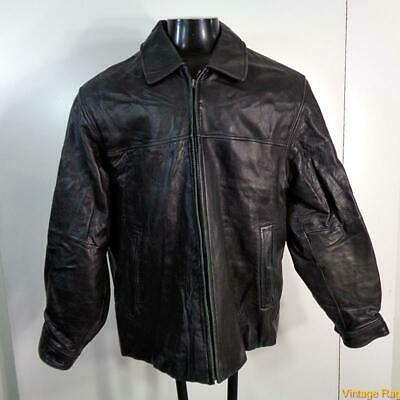 AXCESS Lambskin LEATHER JACKET Mens Size L Black zippered insulated