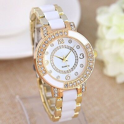Womens Fashion Luxury Ceramic Crystal  Rhinestone Quartz Wrist Watch