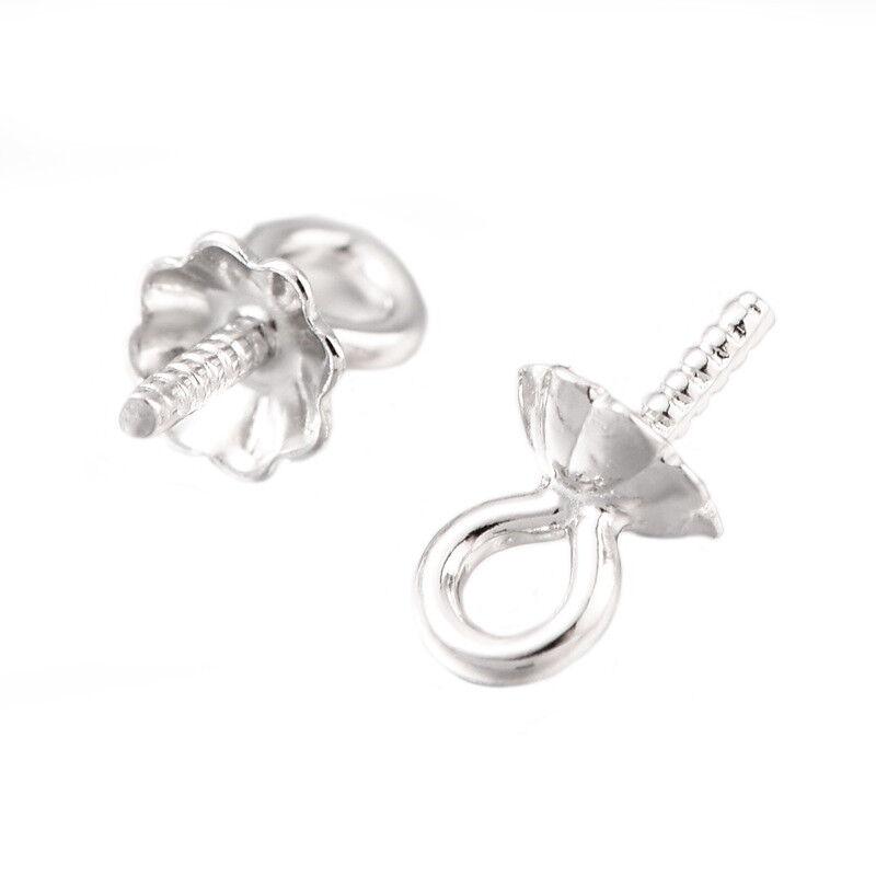 100 Sterling Silver Eye Pins Jewelry Earring Findings