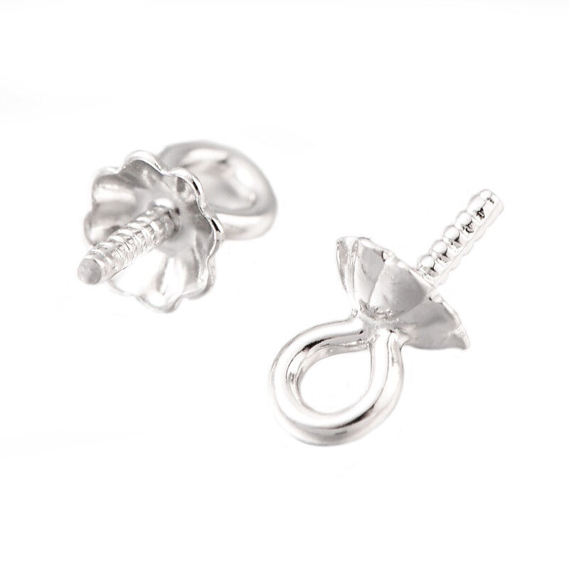 Solid Sterling Silver 925 Cup Stud Earring Post Pin 2-100 pc