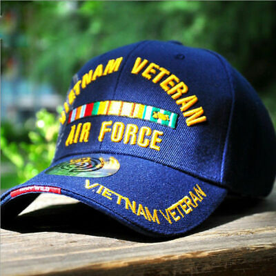 Vietnam War Veteran Vet Air Force Army Military Embroidered Baseball Cap Hat