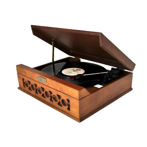 Vintage style turntable with built-in speakers