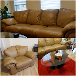 Leather couch ,sofa chair and coffee table for sale