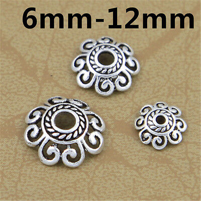 (15 Sterling Silver Spiral Bead Caps 925 Silver Hollow Bracelet Bead Spacer Caps)