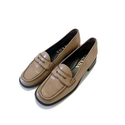 Authentic Prada Vintage Women's Tan Patent Leather Loafers Size 37