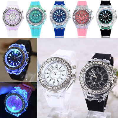 For Kids Boys Girls LED Light Flashing Analogue Quartz Watch Wrist Watches Gift