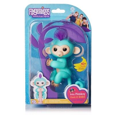 100  Authentic Wowwee Toy Fingerlings Zoe Baby Monkey Interactive Pet Turquoise
