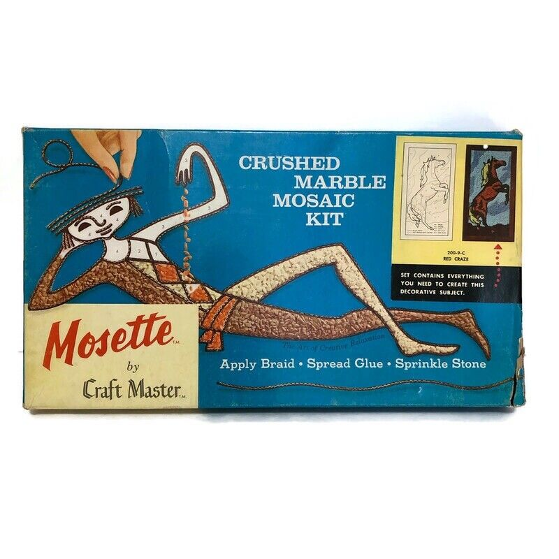 Vintage 1962 Mosette Craft Masters Red Craze Horse Crushed Marble Mosaic Kit