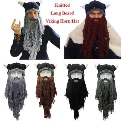 Viking Grey or Ginger Beard Ski Cap Crochet Knit Hat With Bearded Winter Hat - Viking Hat Beard
