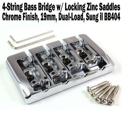 4-String Bass Bridge Chrome w/Locking Zinc Saddles Dual Load 19mm Sung-il BB404