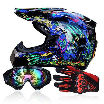 Men Helmet + Goggles + Gloves Racing Helmet Dirt Bike ATV Gear Motocross DOT