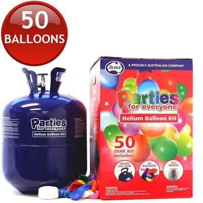50 x JUMBO HELIUM BALLLOONS + GAS TANK BOTTLE INFLATOR RIBBON KIT PARTY BIRTHDAY - Jumbo Helium Tank