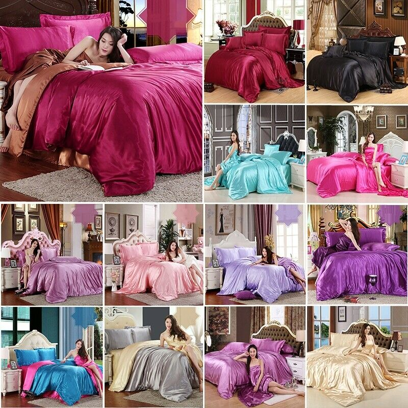 Satin Silk Bedding Set Duvet Quilt Cover Pillow Case w//o Sheet Twin//Queen//King