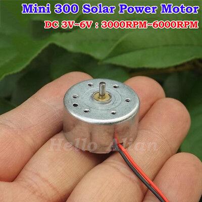 Mini 300 Solar Power Motor Dc 3v 5v 6v 6000rpm Small Round Hobby Toy Motor Diy