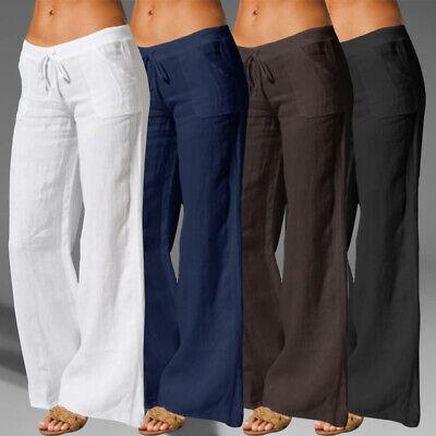 Womens Palazzo Pants Cotton Long Loose Yoga Sports Wide Leg Trousers Sweatpants